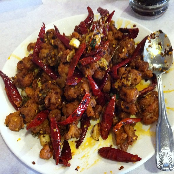 the best stuff on earth: chef's special dry chili chicken.